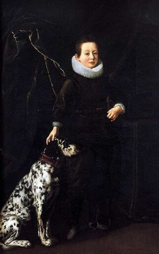 Francesco di Cosimo II de' Medici (1614–1634) with a Dalmatian, by Justus Sustermans