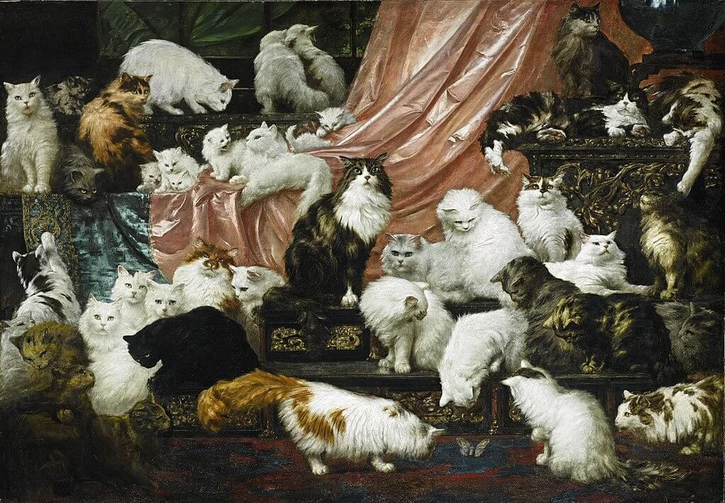 My Wife's Lovers dated 1891 by artist Carl Kahler featuring Persian and Angora cats